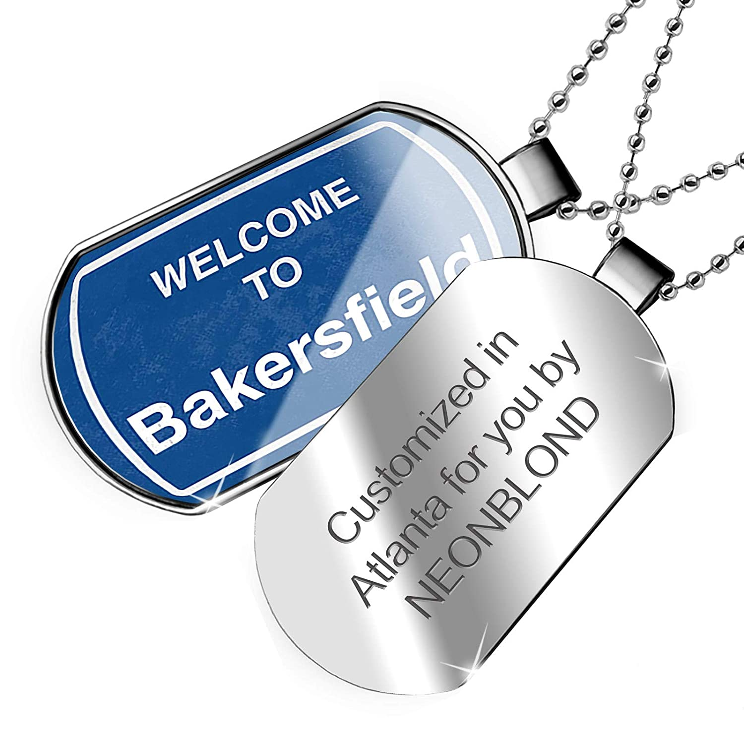 NEONBLOND Personalized Name Engraved Sign Welcome to Bakersfield Dogtag Necklace
