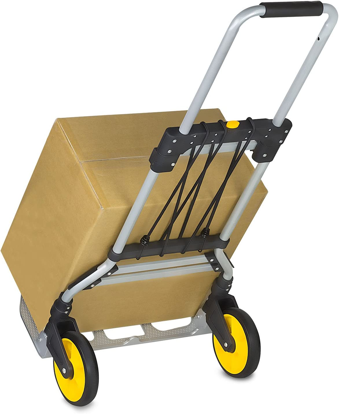 Amazon Com Mount It Folding Hand Truck And Dolly 264 Lb Capacity Heavy Duty Luggage Trolley Cart With Telescoping Handle And Rubber Wheels Silver Black Yellow Office Products