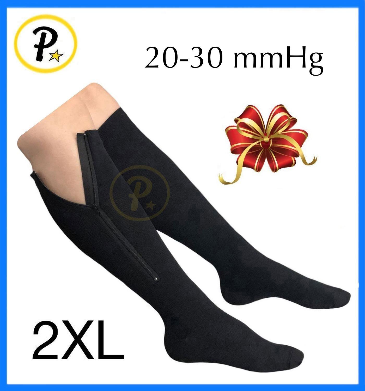Presadee Original Closed Toe 20-30 mmHg YKK Zipper Compression Circulation Swelling Recovery Full Calf Length Energize Leg Socks (Black, 2XL)