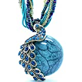 QIAOYA Women Vintage Necklace Retro Peacock Pattern Beads Chain Bohemian Statement Necklace
