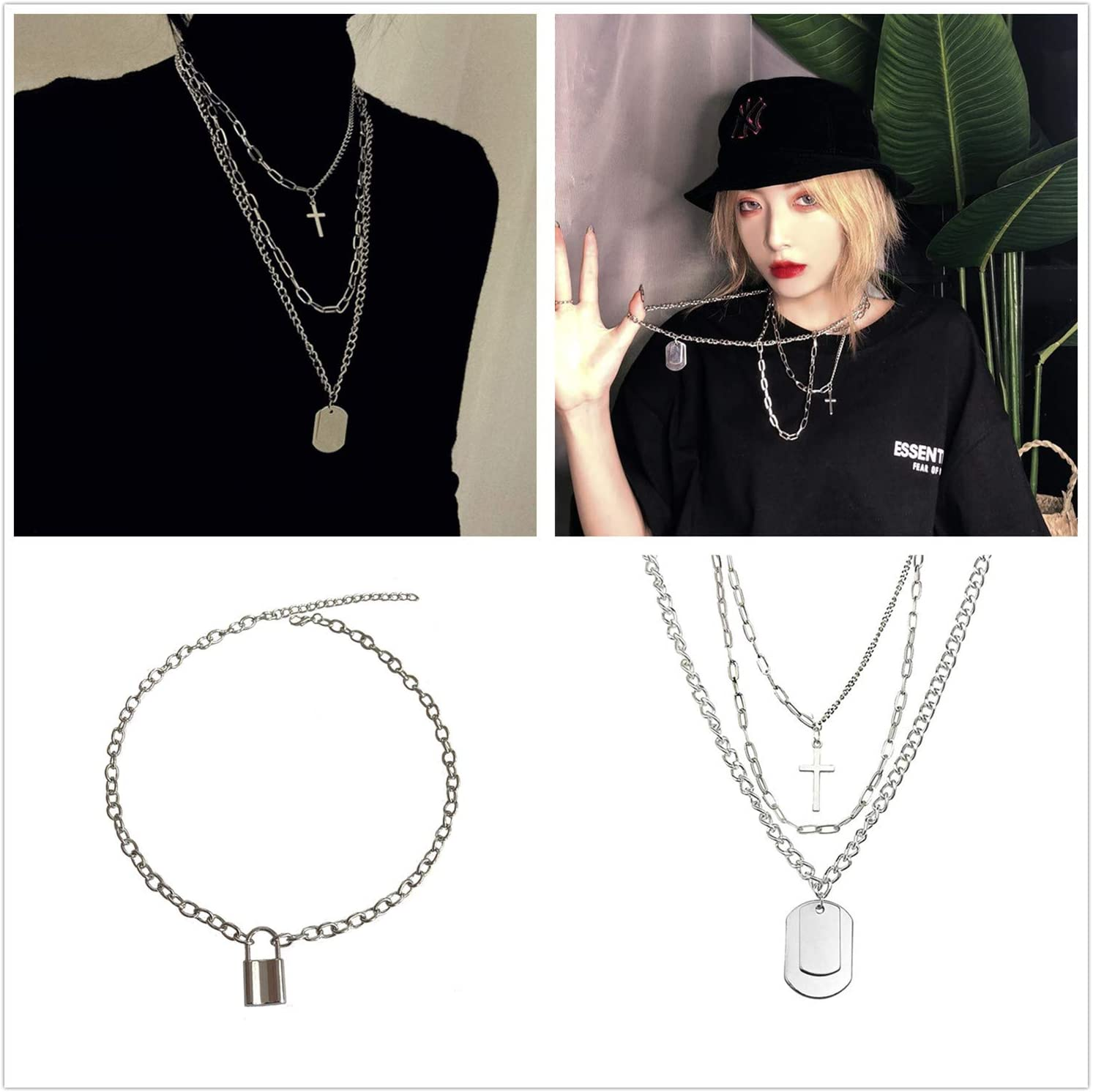 PPX 4 Pcs Lock Pendant Necklace Statement Long Chain Punk Multilayer Choker Necklace for Women Girls and Cross Earrings Set for Men Women with Storage Box