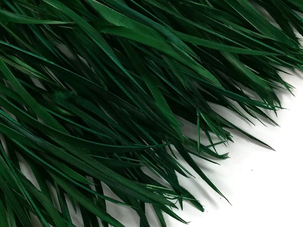1 Yard - Hunter Green Goose Biots Stripped Wing Wholesale Feather Trim Halloween Craft Supply | Moonlight Feather
