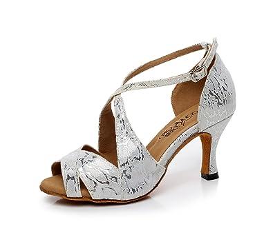JSHOE Damen Latin Dance Schuhe Salsa/Tango/Tee/Samba/Modern/Jazz Schuhe Sandalen High HeelsGrey-heeled7.5cm-UK6.5...