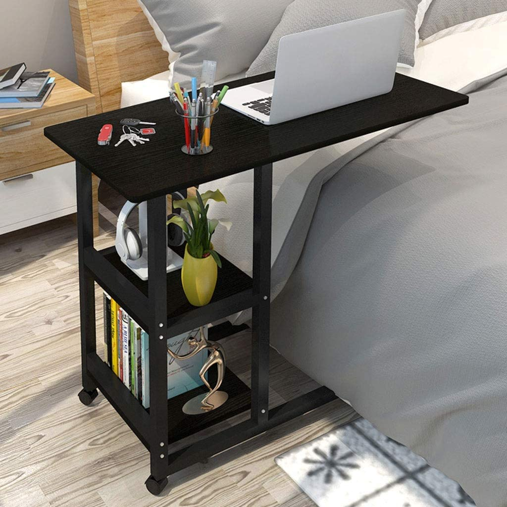 Wrought Iron Movable Multi-Layer Lazy Table Living Room Bedroom Side Table Simple Wrought Iron Office Study Table Early Table Laptop Stand Color : A