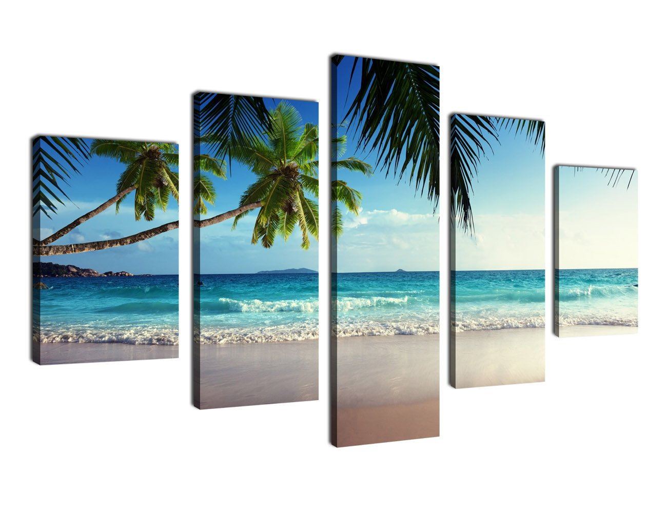 Canvas Prints Wall Art Coconut Palm Tree on Sea Beach Sunshine Summer Season Framed Ready to Hang - 5 Panels Contemporary Painting Teal Canvas Art on Canvas for Home and Office Decoration by yearainn