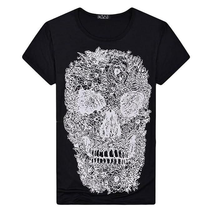 b35b2b51f369 Amazon.com  Elogoog Clearance Mens Cool 3D Skull Tshirts Short Sleeve  Crewneck Funny Graphic Print Tee Shirts Tops  Clothing