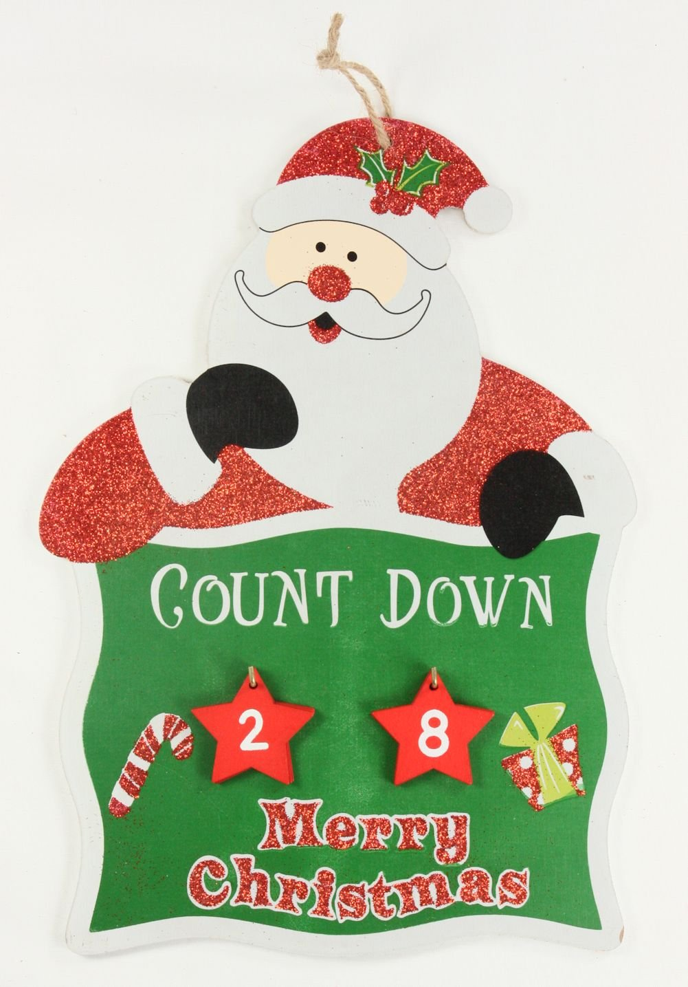 Countdown to Christmas Hanging Wall Plaque With Hanging Numbers