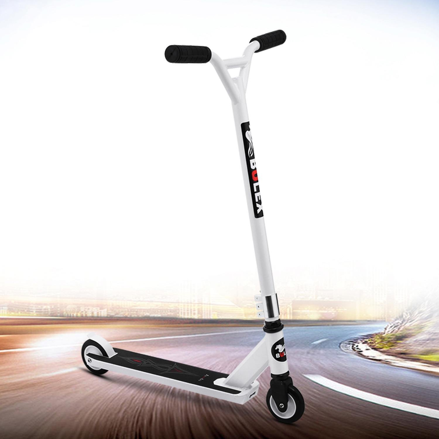 Kaluo 2-Wheel Stunt Scooter/Kick Scooter/Freestyle/Extreme Scooter Adjustable Height 220lb Weight Capacity for Teens Adults Kids (White)