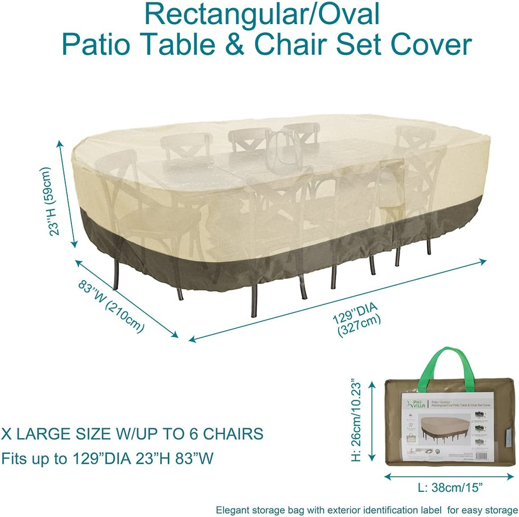 Large Rectangular//Oval Water Resistant Outdoor Furniture Dinning Set Covers with Pop-up Supporter PHI VILLA Patio Table /& Chairs Set Cover