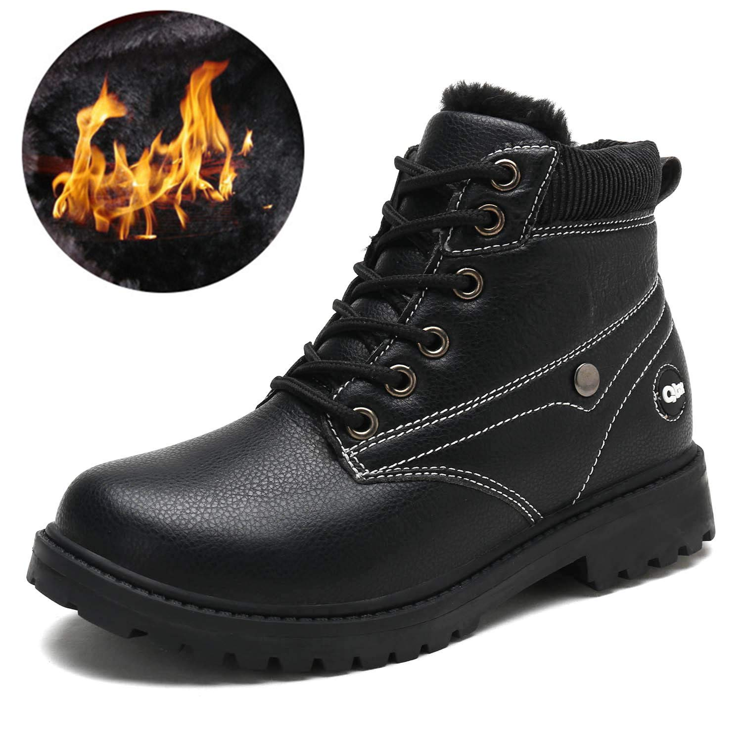 RUNSOON Boys Girls Winter Martin Combat Boots Outdoor Waterproof Leather Classic Work Boot Toddler Little Kid Big Kid