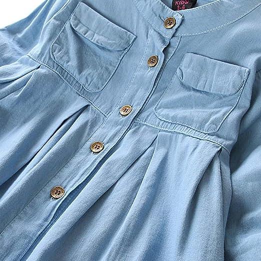 2895874d505 FEITENGTD Toddler Baby Girl Ruffle Denim T-Shirt Long Sleeve Outfit Clothes  Tops Blouse for Kids (Blue