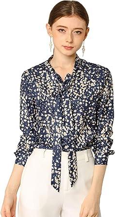 Allegra K Blusa Camisa Floral Cuello Redondo con Corbata De Lazo ...