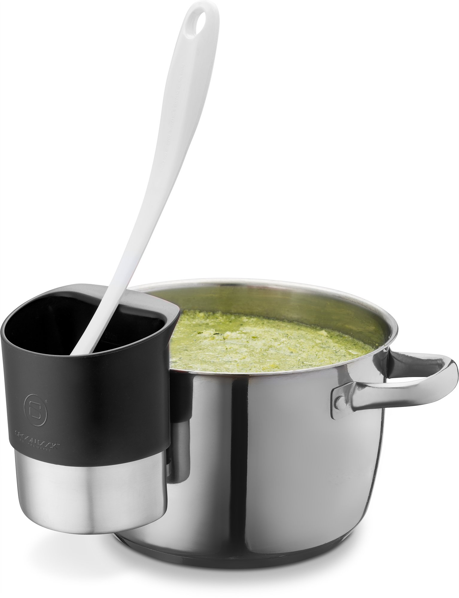 Spoon Rest Stainless Steel Spoon Dock Utensils - This Cup Hangs on Saucepans Pots Preparing Serving Food Without Creating a Mess - Use as a Measuring Cup, Mix, Pouring - Black