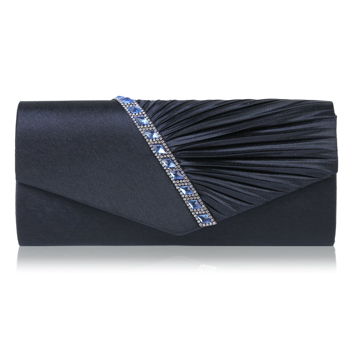 Damara Womens Pleated Crystal-Studded Satin Handbag Evening Clutch,Navy Blue