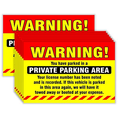 "Private Parking Stickers (Pack of 50) Reserved No Permit Area Violation Warning Notice Vehicle is Illegally Parked - Large Size 6"" X 9"" – Yellow : Office Products"