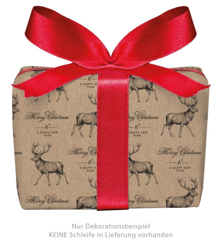 3er-Set Weihnachts Geschenkpapier Bögen HIRSCH im Retro Kraftpapier ...