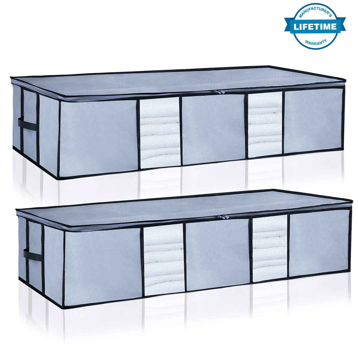 Underbed Storage Bags Organizer Container[2Pack] with Strengthened Handles and Enhanced Zipper, Large Space Saver Comforters Foldable Storage Bags Breathable with Clear Window for Blankets Clothes by Seckon