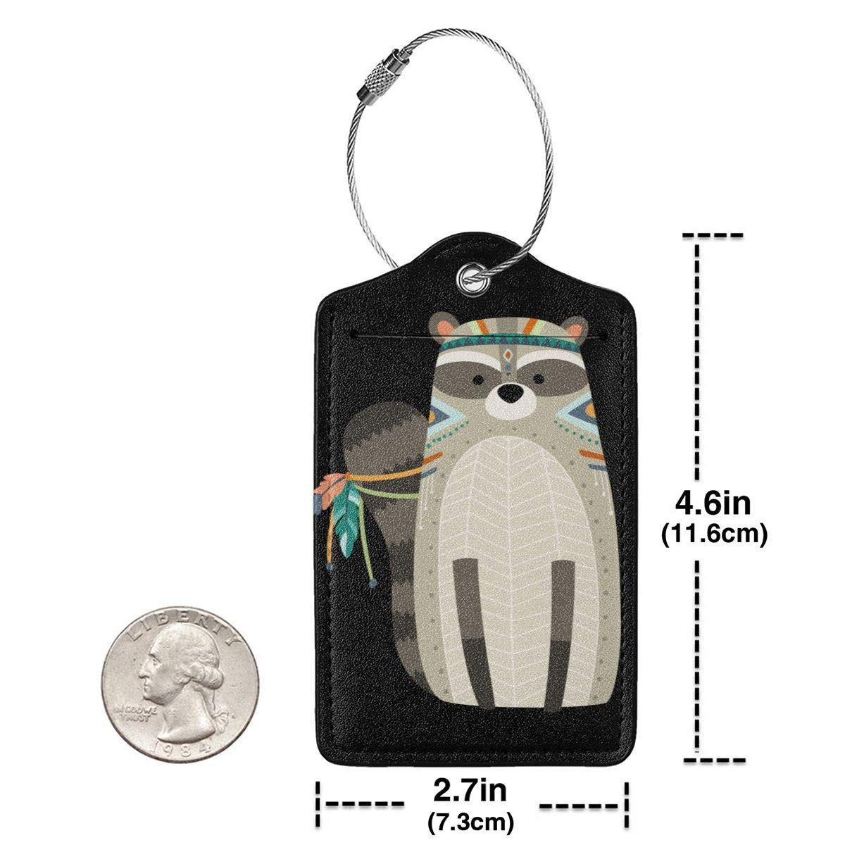 Woodland Tribal Animals Raccoon Travel Luggage Tags With Full Privacy Cover Leather Case And Stainless Steel Loop