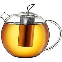 Creano Jumbo dzbanek do herbaty ze szkła, 3-częściowy szklany dzbanek do herbaty w zestawie z wbudowanym sitkiem ze…