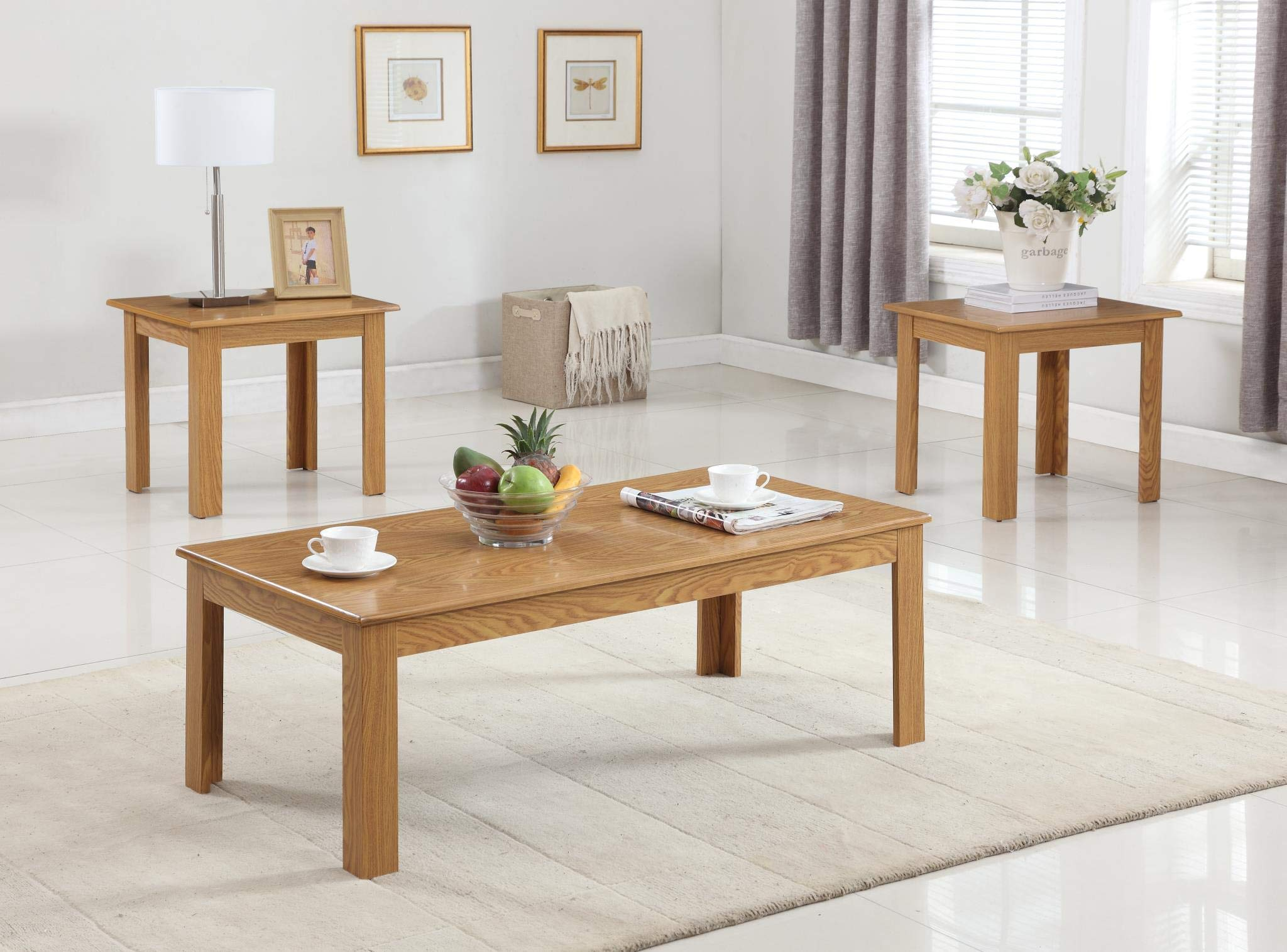 GTU Furniture Occassional Modern, Sophisticated, Vintage Glam, 3-Piece Square Accent Table Set with 1 Coffee Table, and 2 End Tables in a Light Oak Wood Finish, Mesitas para Sala by GTU Furntiure