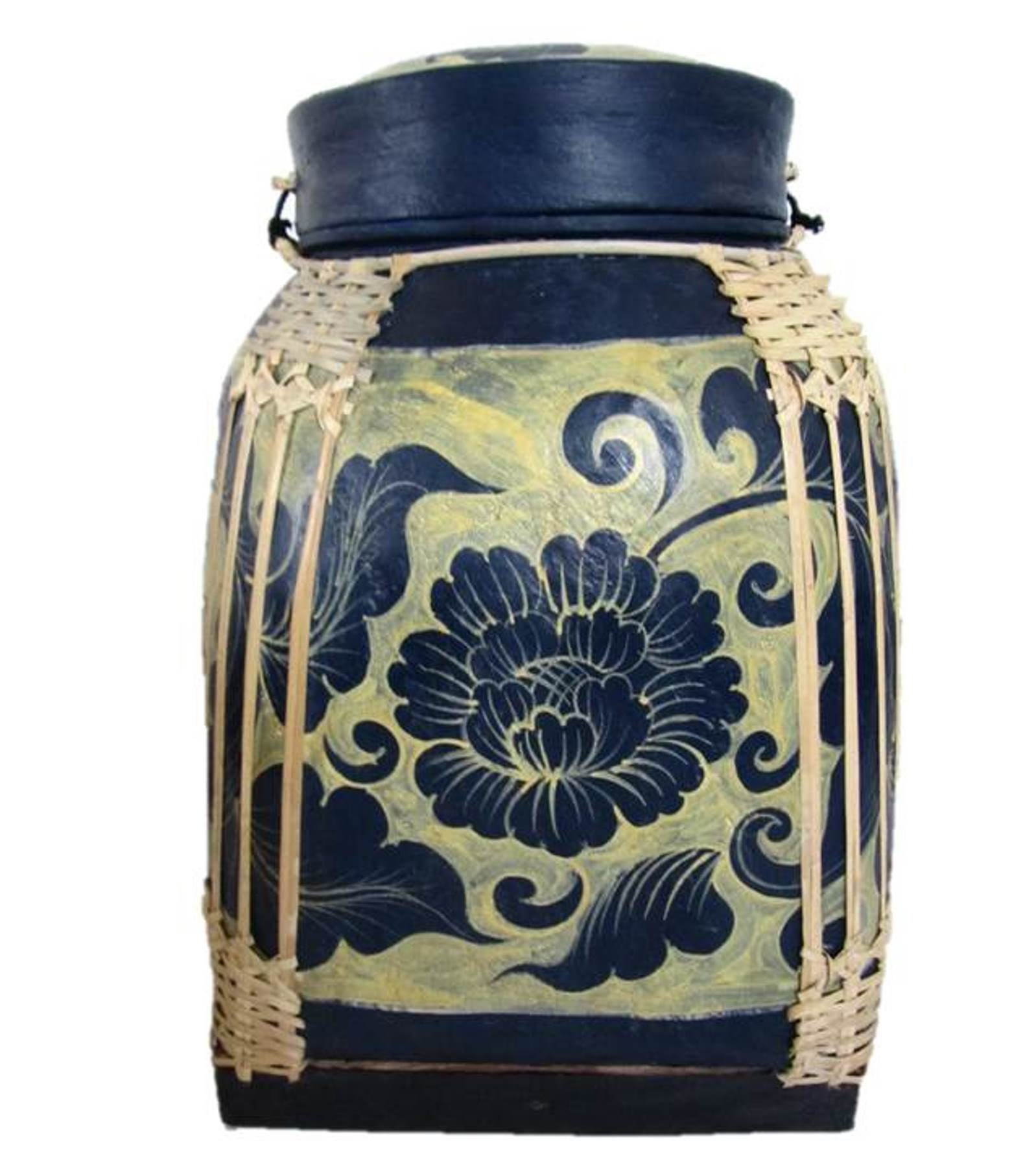 Large Thai Rice Box Decorative Hand Painted Bamboo Basket Handmade Storage Container (Honey Lotus 26'') by Blue Orchid