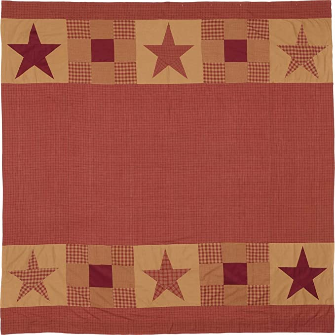 VHC Farmhouse Applique Star Primitive Patchwork Country Cottage Shower Curtain