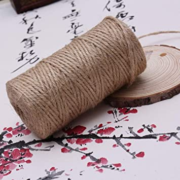Bomcomi 2 mm Longitud 150 Millones de Yute Twine Cadena Gruesa Cuerda de Bricolaje 3Ply Natural Artes Artesan/ía Decoraci/ón Agrupaci/ón