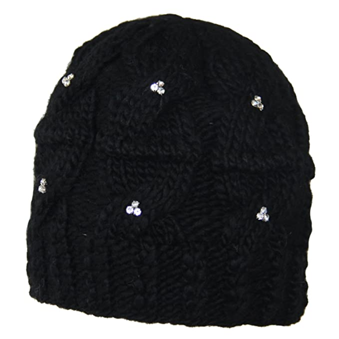 d16d9ac92d9 Image Unavailable. Image not available for. Color  SIJJL Diamond Studded Cable  knit Beanie