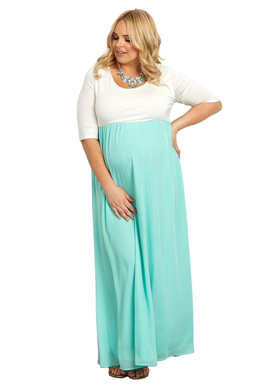f5c9b34f0ff6 PinkBlush Maternity Chiffon Colorblock Plus Maxi Dress at Amazon Women's  Clothing store: