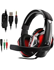 JAMSWALL Gaming Headset für PS4 PC Xbox One LED Bass Surround Noise Cancelling mit Mikrofon Gaming Kopfhörer für PS4 für Laptop Switch Games
