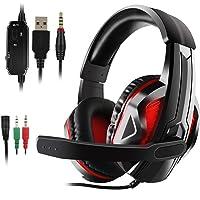 JAMSWALL Auriculares estéreo para Juegos para PS4, PC, Xbox One, cancelación de Ruido con micrófono, bajo Alrededor, Suaves Almohadillas de Memoria para Juegos de conmutadores de Ordenador portátil