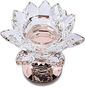 Shop LC Delivering Joy Champagne 2 Ball Base Lotus Rose Gold Color Crystal Flower Home Decor Candle Holder Wedding Bar Party