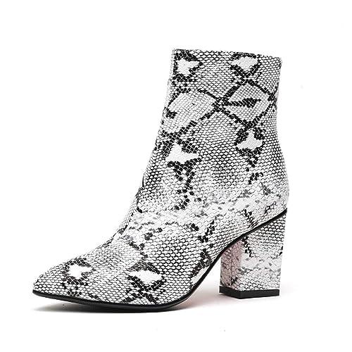 Auspiciousi Bottines Femmes PU Pointus Snake Zip Chaussures 8POX0NwnkZ
