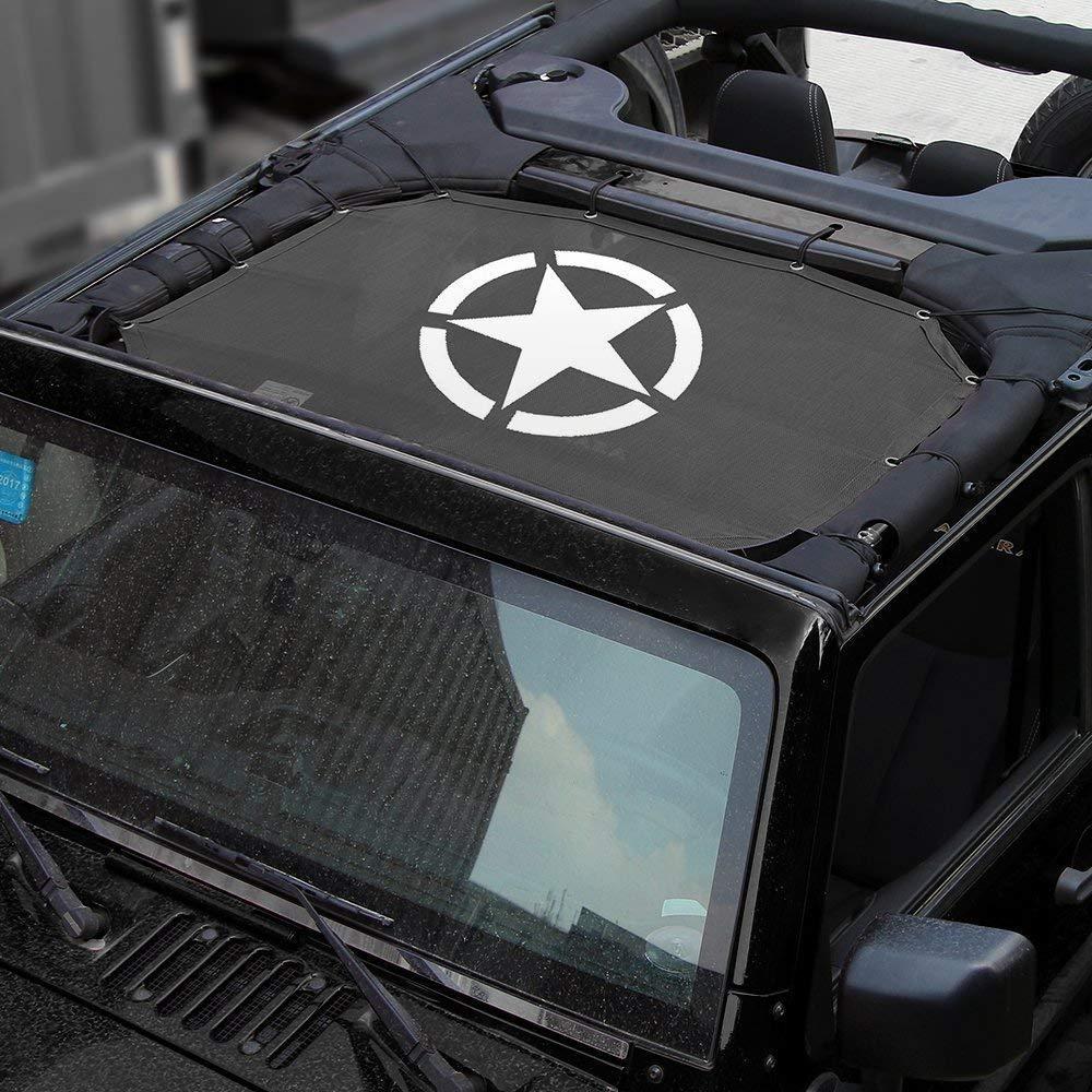 con malla de malla para parasol color negro SKUNTUGUANG Cubierta superior de malla de poliéster resistente que proporciona protección solar UV para Wrangler de 2 puertas  JK o JKU 2007-2016