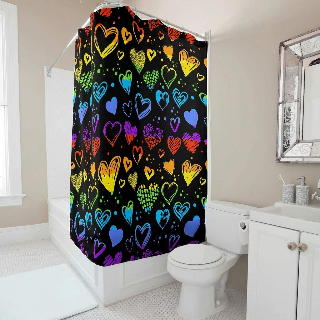 Vicohreinx Rainbow Hearts Shower Curtain Water Repellent Modern Decor Easy Care Bathroom Accessories with Holes and Hooks for Bathroom Bathtubs White 72x72inch