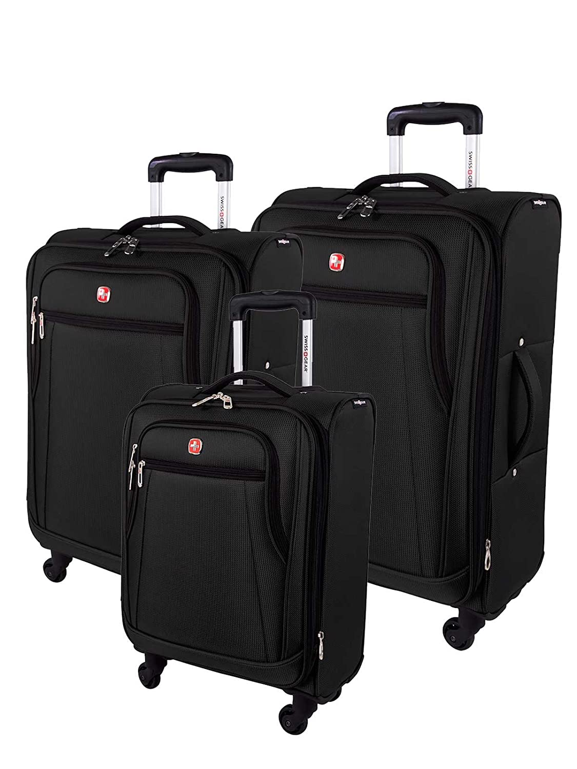 SwissGear Cross Country 3 Piece Spinner Luggage Set, Black Holiday Luggage SW49183009