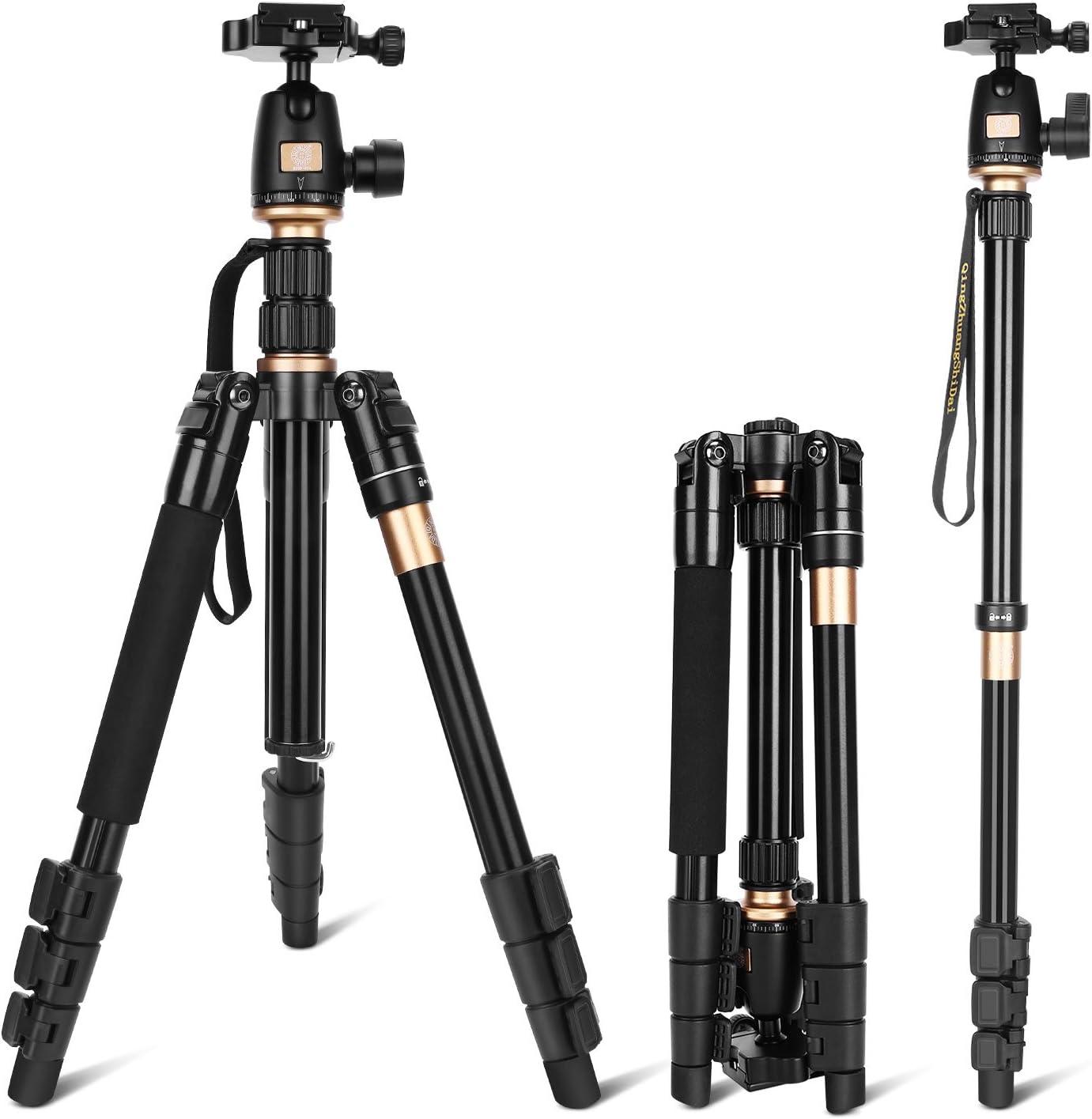 LOETAD Trípode Completo Trípode Monópode Flexible para Cámara con Rótula de Bola Placa Rápida Liberación para Canon Nikon Sony Panasonic DSLR: Amazon.es: Electrónica