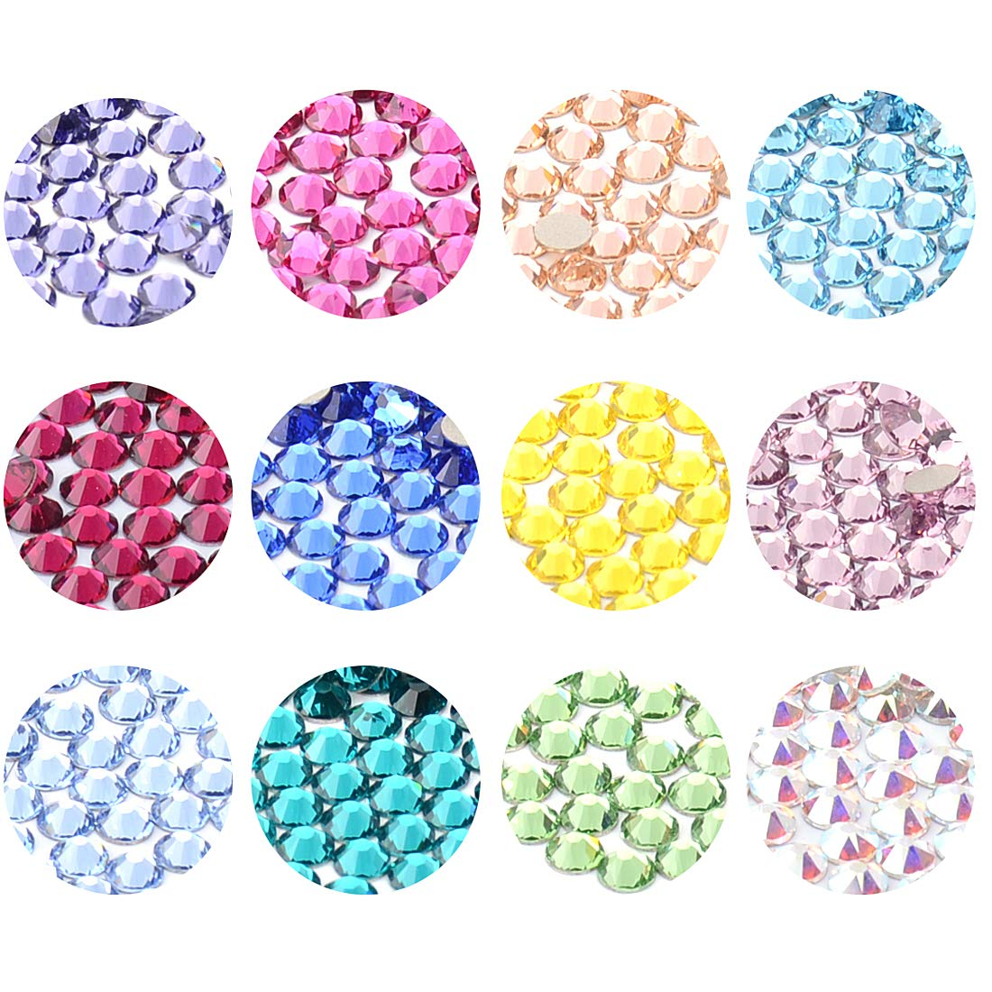 MSBeads Swarovski 2058/2088 Crystal Flatbacks Rhinestones SS16 with Aquamarine/Crytal AB/Blue Zircon/Citrine/Fuchsia/Light Amethyst/Light Peach/Light Sapphire/Peridot/Ruby/Sapphire/Tanzanite