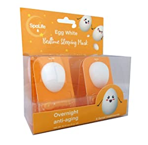 Spa Life Anti Aging Bedtime Overnight Sleeping Egg White Mask 4 pack (Egg White)