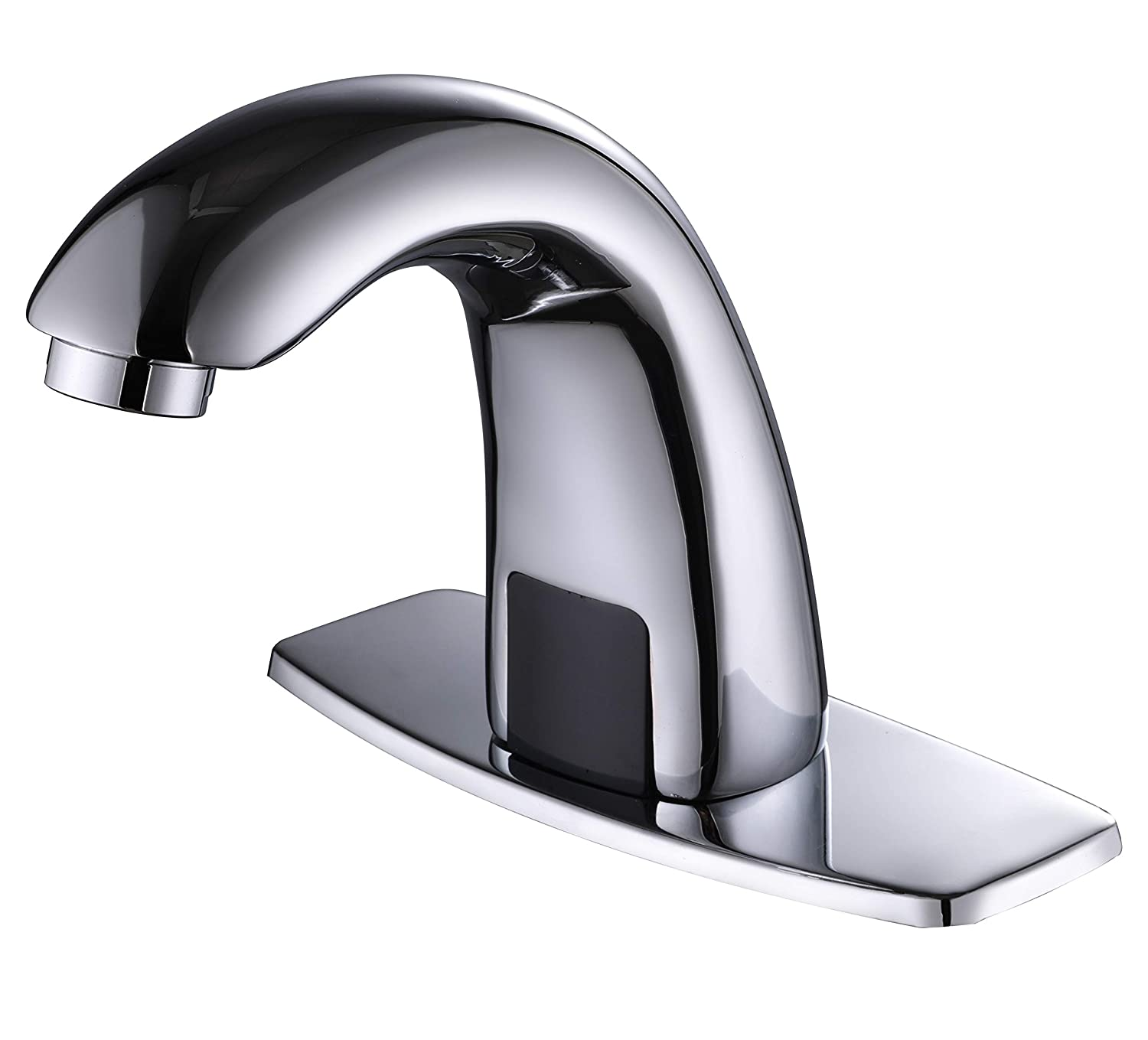 Charmingwater Automatic Sensor Touchless Bathroom Sink Faucet with Hole Cover Plate, Chrome Vanity Faucets, Hands Free Bathroom Water Tap with Control Box and Temperature Mixer