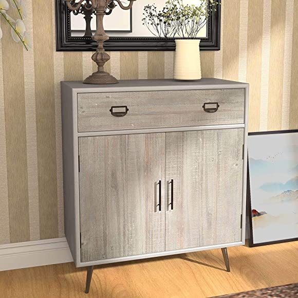 COZAYH Full-Assembled 2 Door Accent Cabinet with 1 Drawer Modern Clean-Lined Silhouette, Rustic Farmhouse Style, Grey