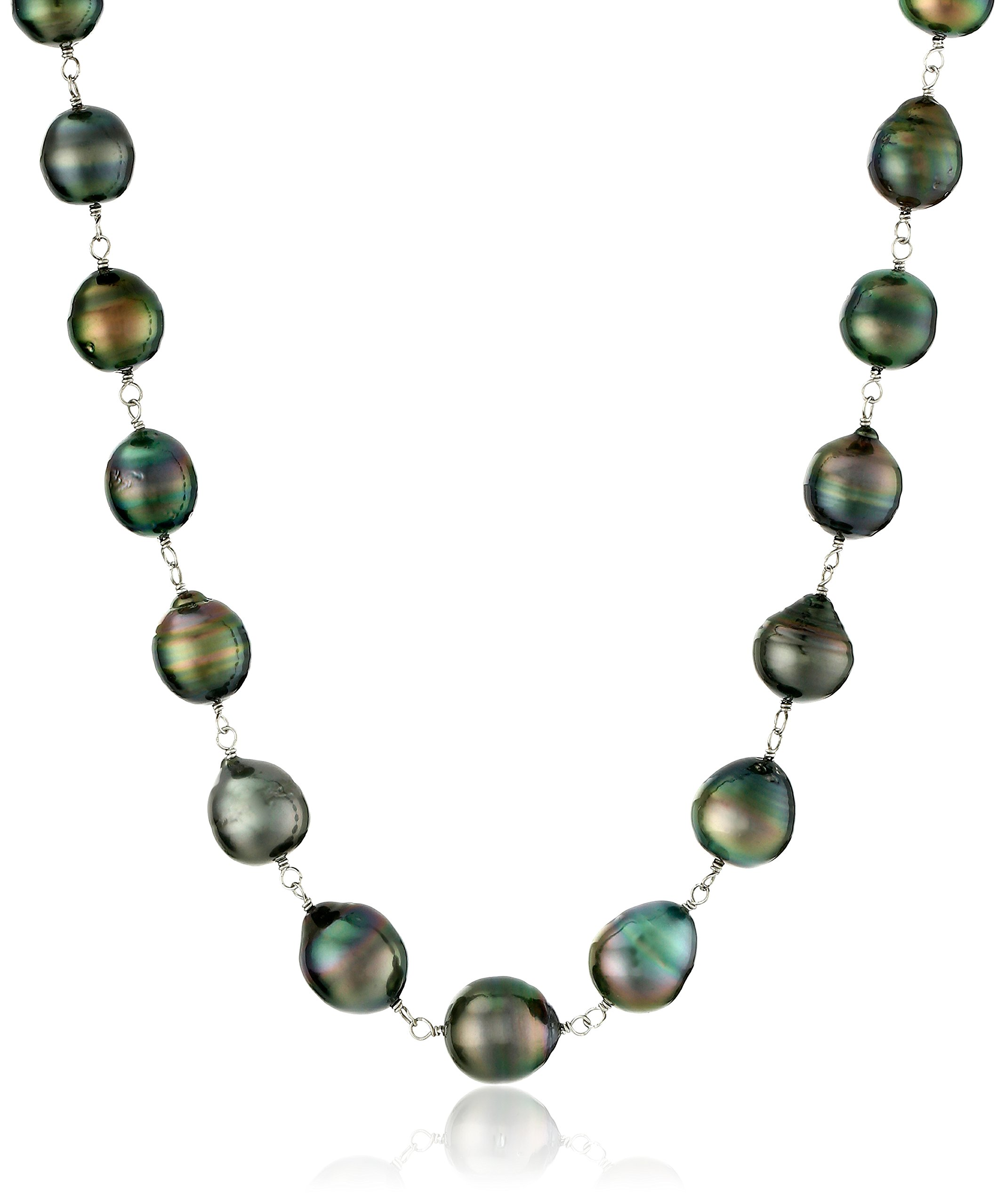 Sterling Silver 8-12mm Black Baroque Tahitian Cultured Pearl Strand, 18''