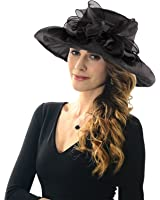 Acecharming Sun Hat, Women's Breathable Kentucky Derby Hat Tea Party Church Wedding Beach Summer Hat Wide Brim Floral Organza Hat