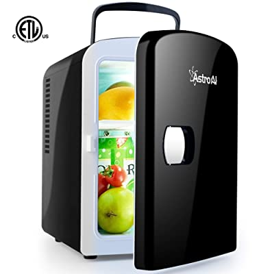 AstroAI Mini Fridge 4 Liter/6 Can AC/DC Portable Thermoelectric Cooler and Warmer for Skincare, Foods, Medications, Home and Travel (Black): Automotive