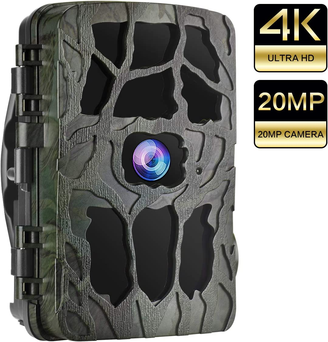 UncleHu Trail Cameras, Hunting Camera 20MP 4K Full HD Game Camera with Night Vision Motion Activated Waterproof, Scouting Cam IR LEDs 120 Wide Angle, Loop Recording for Wildlife Home Security