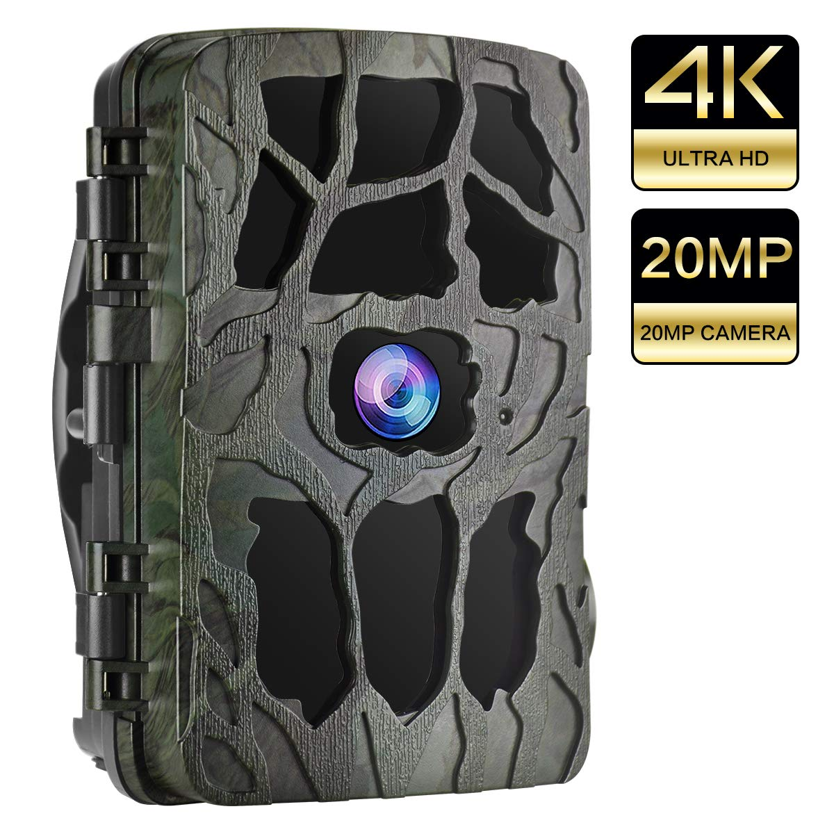 UncleHu Trail Cameras, Hunting Camera 20MP 4K Full HD Game Camera with Night Vision Motion Activated Waterproof, Scouting Cam 2.4 LCD IR LEDs 120 Wide Angle, Loop Recording for Wildlife Animal