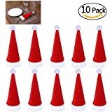 Runfon 10pcs Bolsita para Cubiertos,Cubiertos Tenedores Bolsa decoración de Mesa,Gorro navideño,Gorros de Santa para Decoración Navidad Cena Mesa