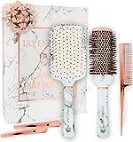 مجموعة فراشي شعر ليلي إنجلترا – فرشاة مجداف مستديرة لتجفيف الشعر ومشط ومشابك رخام وذهب وردي