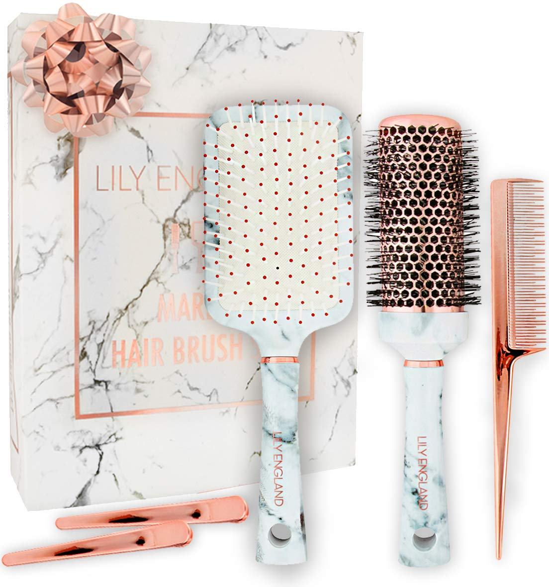 Hair Brush Set - Paddle Brush, Round Blow Drying Hairbrush, Tail Comb & Clips - Marble & Rose Gold by Lily England