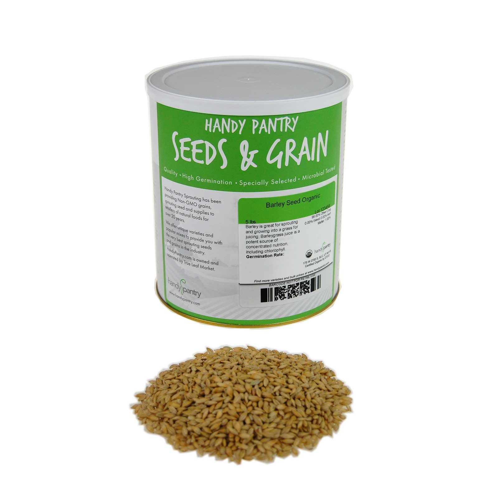 Organic Barley Seeds -4.5 Lbs - Whole (Hull Intact) Barleygrass Seed - Ornamental Barley Grass, Juicing - Grain for Beer Making, Emergency Food Storage & More by Handy Pantry (Image #1)
